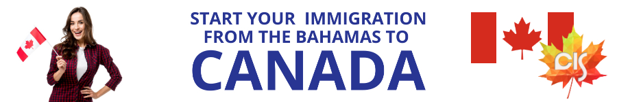 """woman holding Canadian flag, text """"start your immigration from the Bahamas to Canada"""""""