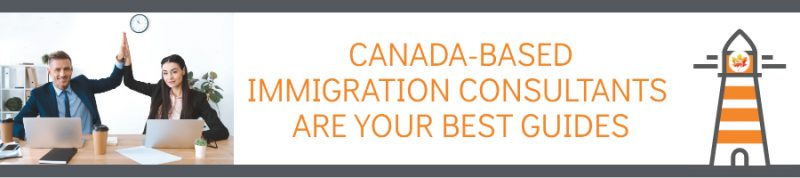 "Businesswoman and Businessman high five while looking at laptops, text: ""Canada-based immigration consultants are your best guides"""