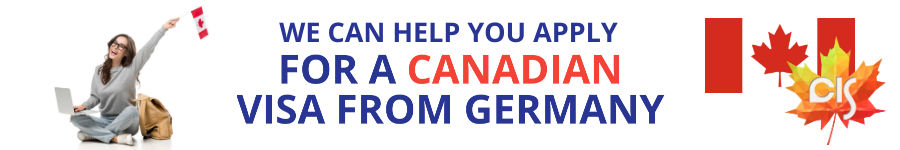 "Woman holding laptop and Canadian flag, text: ""we can help you apply for a Canadian visa from Germany"""""