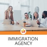 """team of four lawyers sitting around the table with 3 laptops, text: """"immigration agency"""""""