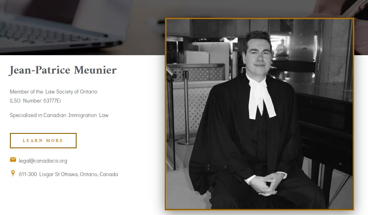 Lawyer of CanadaCIS and his contact details (email, phone) and license number.