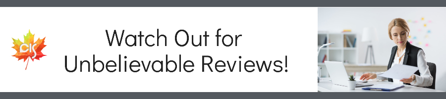 """female reviewer sitting at a table with laptop and paper in hand, text: """"Watch out for Unbelievable Reviews!"""""""