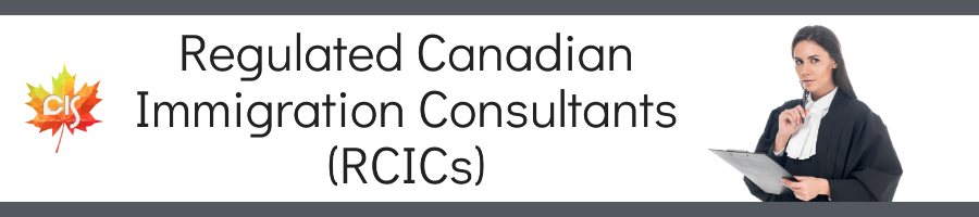 """Female RCIC lawyer, text """"Regulated Canadian Immigration Consultants (RCICs)"""""""