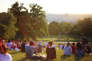 Italian Crowd sitting in grass in Canada