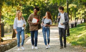 International students walking in a Canadian university